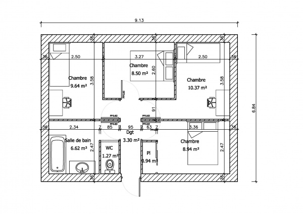 id e plan maison en longueur lm95 jornalagora. Black Bedroom Furniture Sets. Home Design Ideas