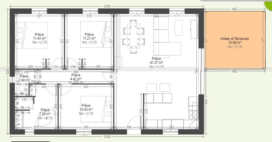 plan de maison 90 m