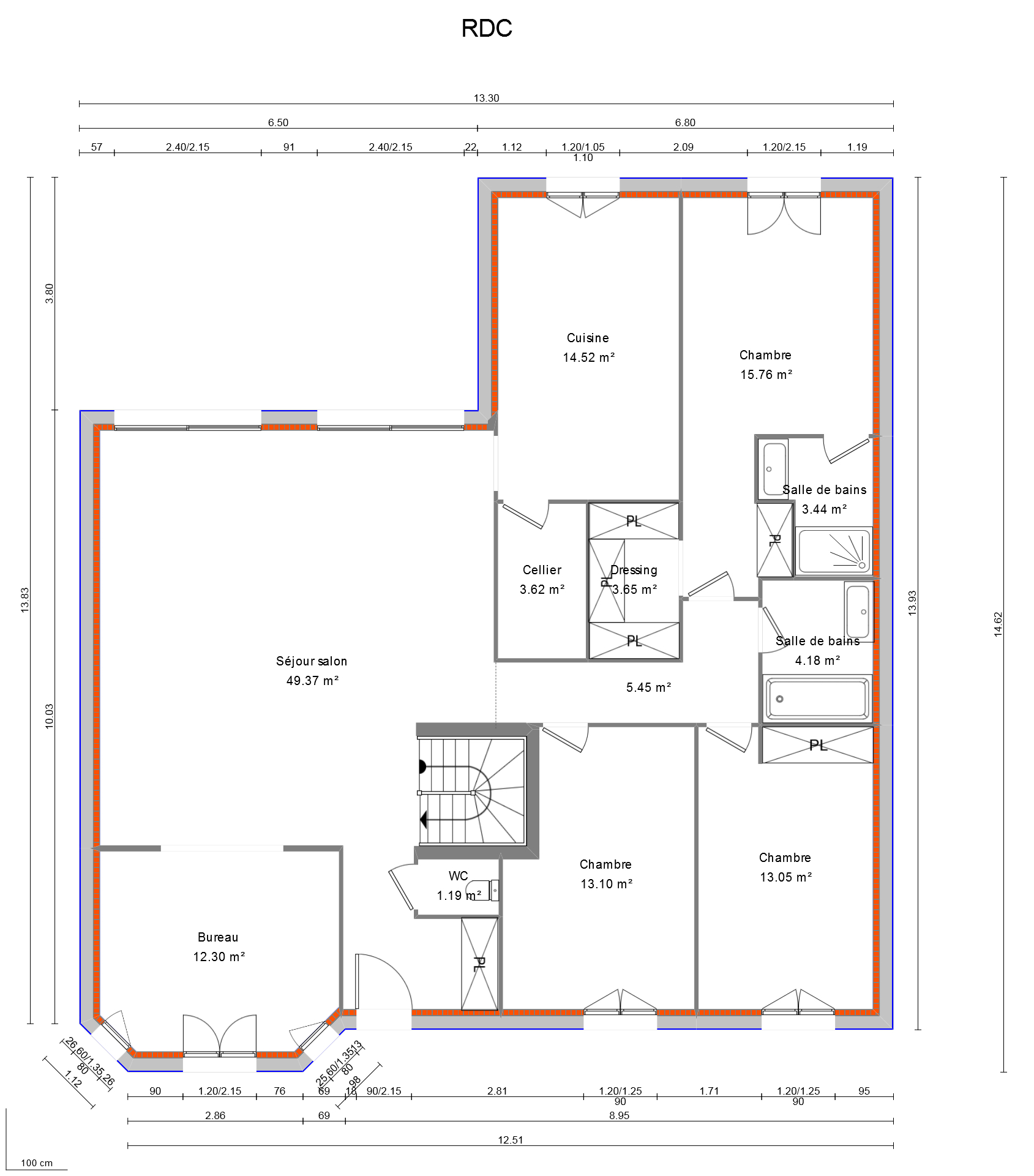 Avis plan maison plain pied en l avec bow window et garage accol 28 messages for Plan de maison de 90m2