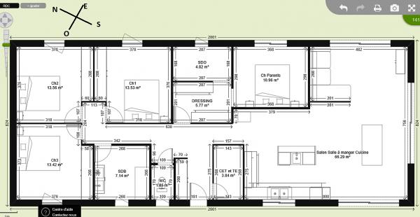 Jeune Avis plan maison plain pieds 140m2 - 79 messages AE-17