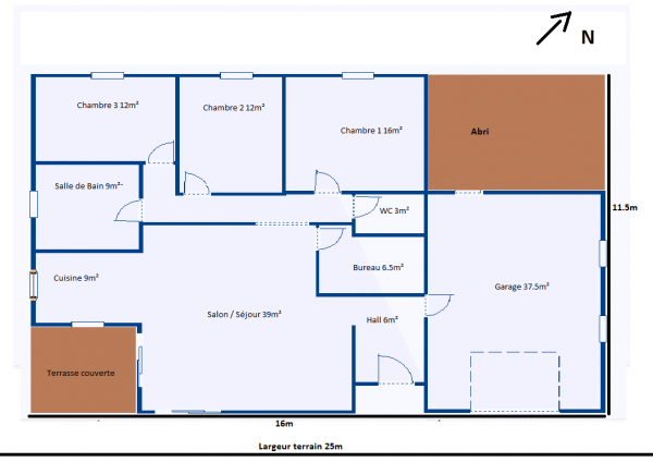 Bekannt Plan Maison 120m2 4 Chambres. Plan De Maison R1 Au Senegal Plan  MS69