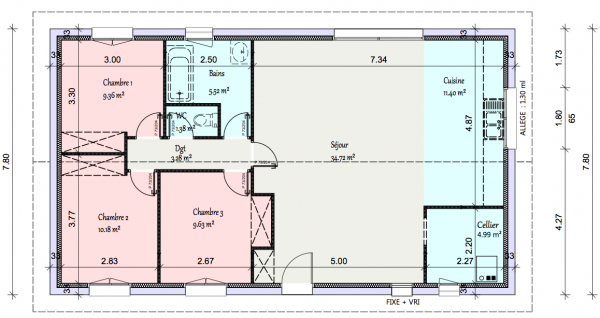 fabulous le plan de plus prs with plan de maison 90m2 - Plan De Maison 90m2 Plain Pied