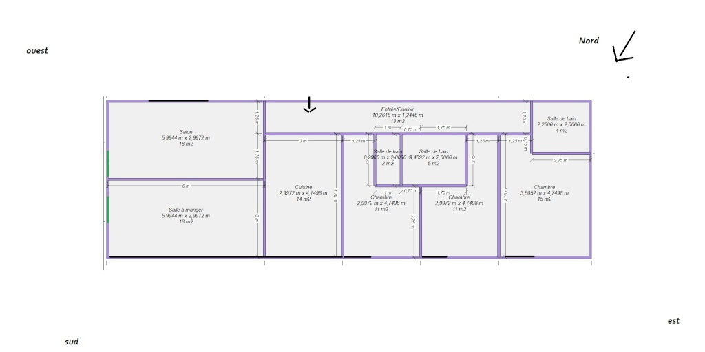 Plan maison 6m de large for Plan maison longueur