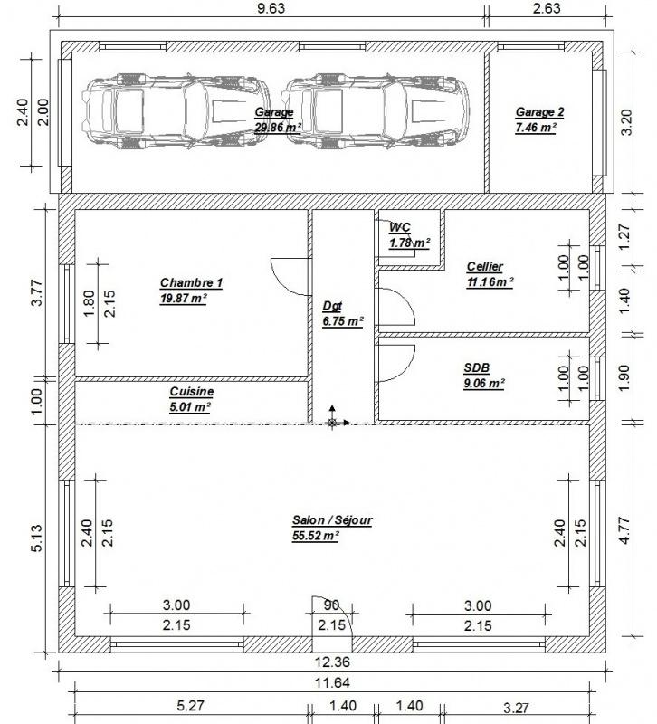 Plan maison 9m de facade for Plan maison facade