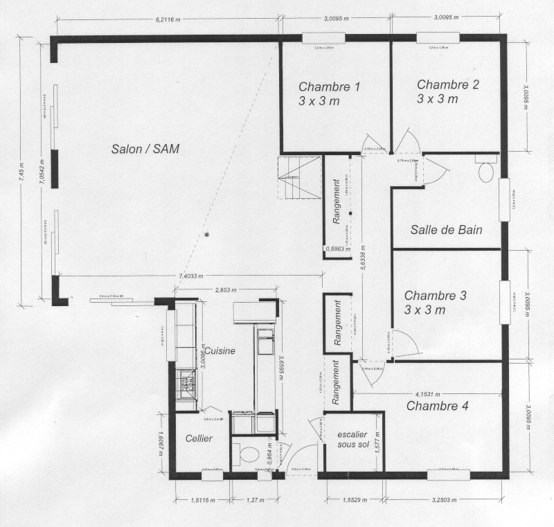Plan maison plain pied sans couloir blog de conception for Plan maison sans couloir