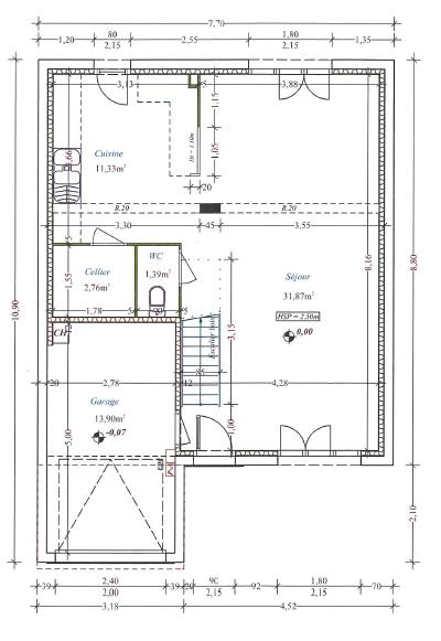 plan maison 6m de large