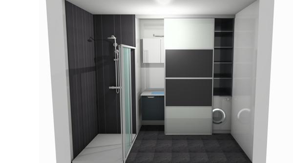 Votre avis pour notre salle de bain et quel choix 7 for Porte coulissante pour petite salle de bain
