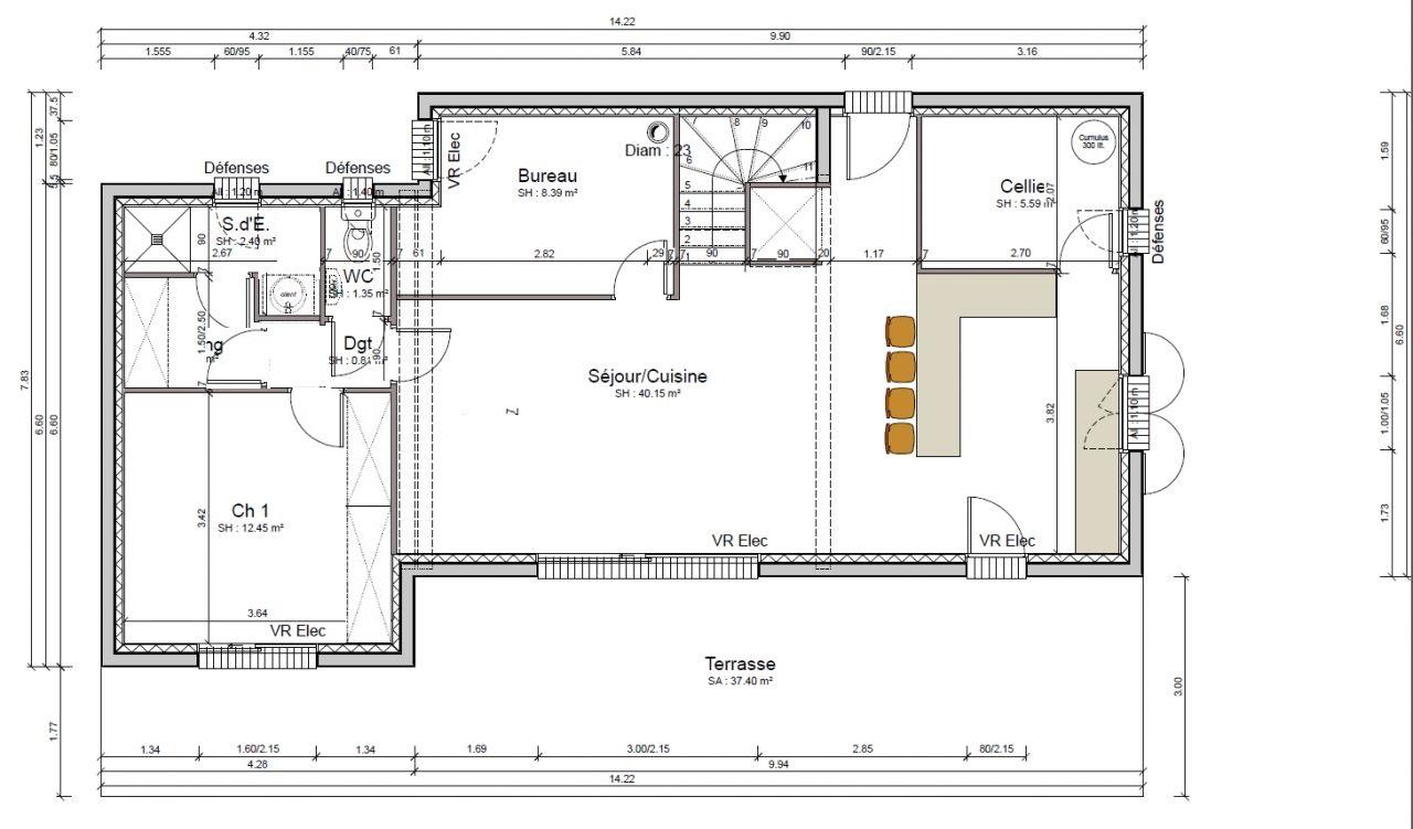 Plan chambre parentale avec salle de bain et dressing a for Plan de suite parentale avec salle de bain dressing