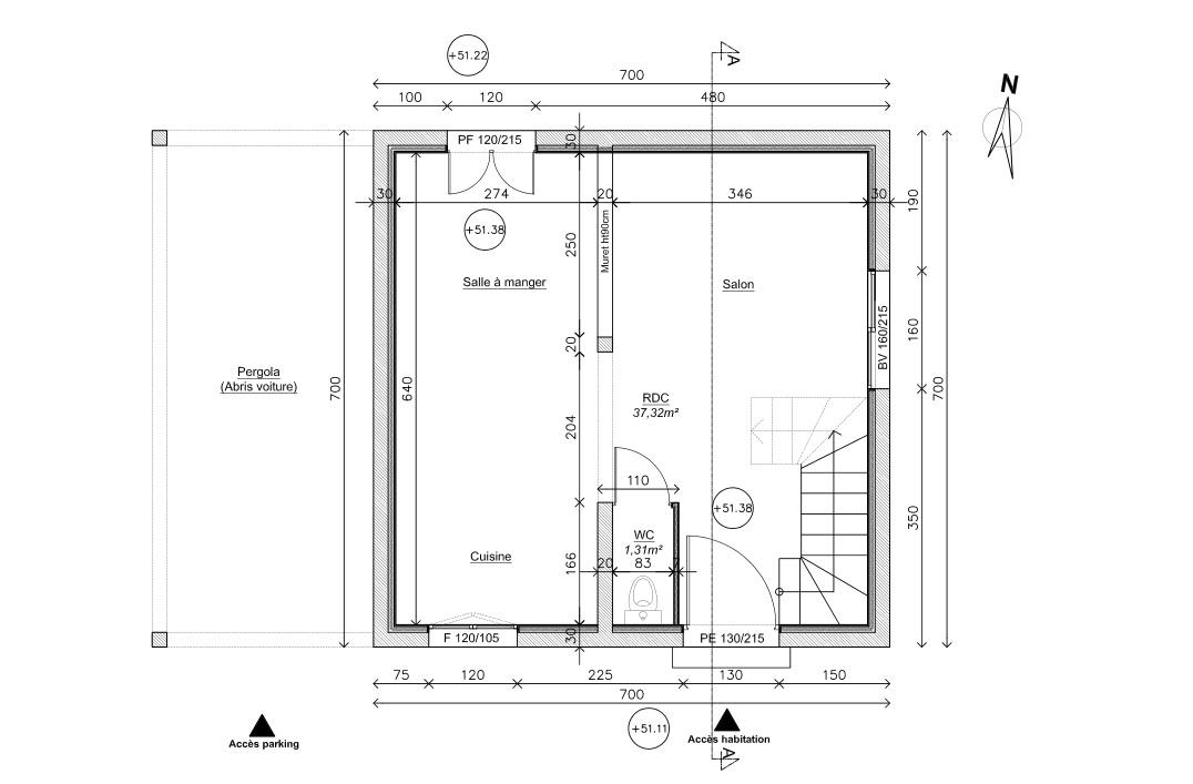 plan de maison 75 m2