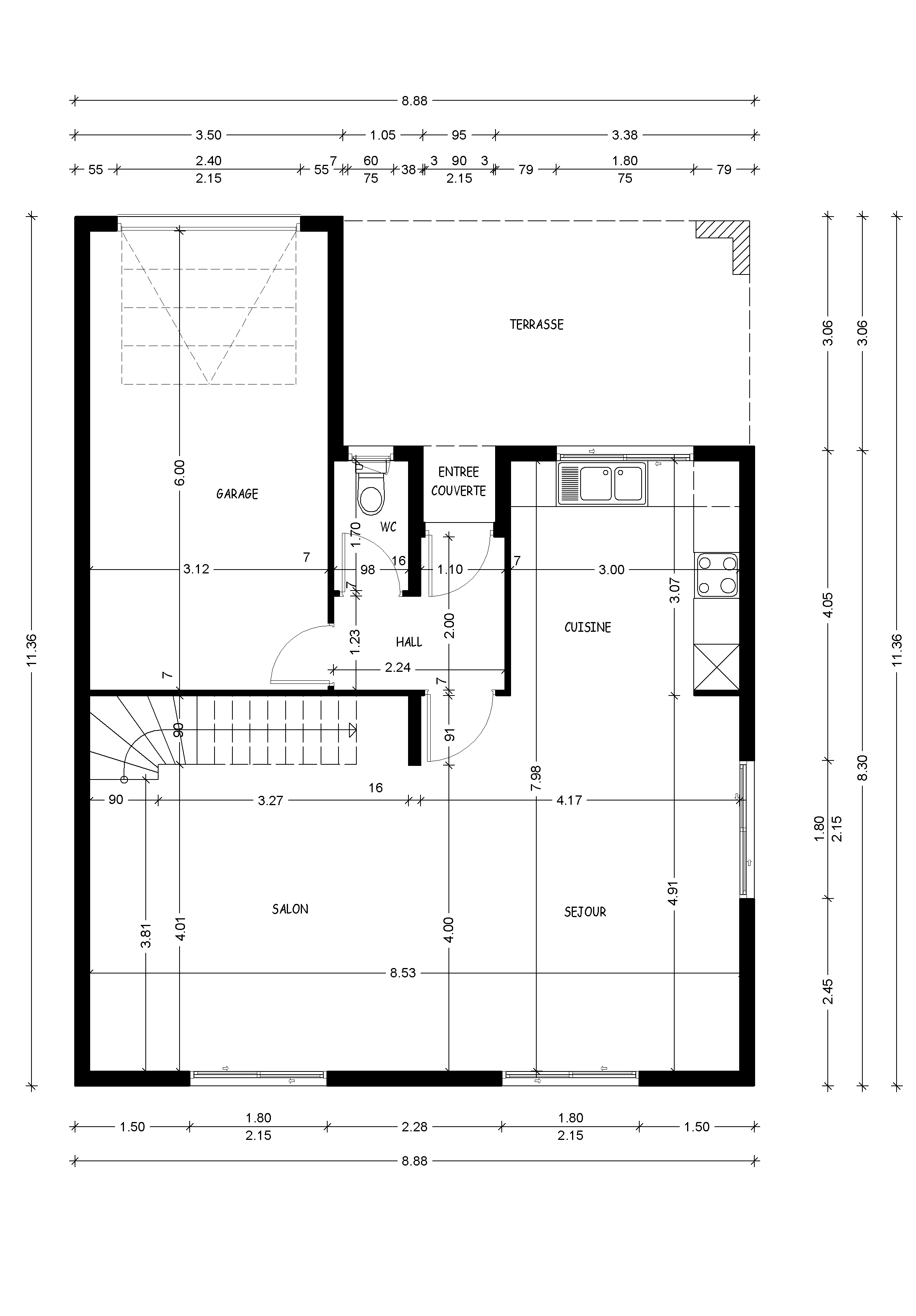 Plan maison 9m facade for Comment trouver l architecte qui a construit ma maison