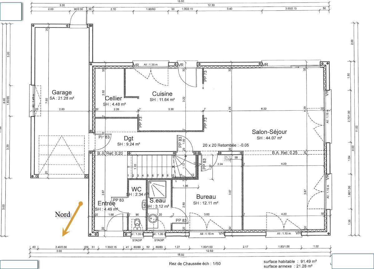 Besoin d 39 avis r 1 env 180 m2 19 messages for Plan de maison cote