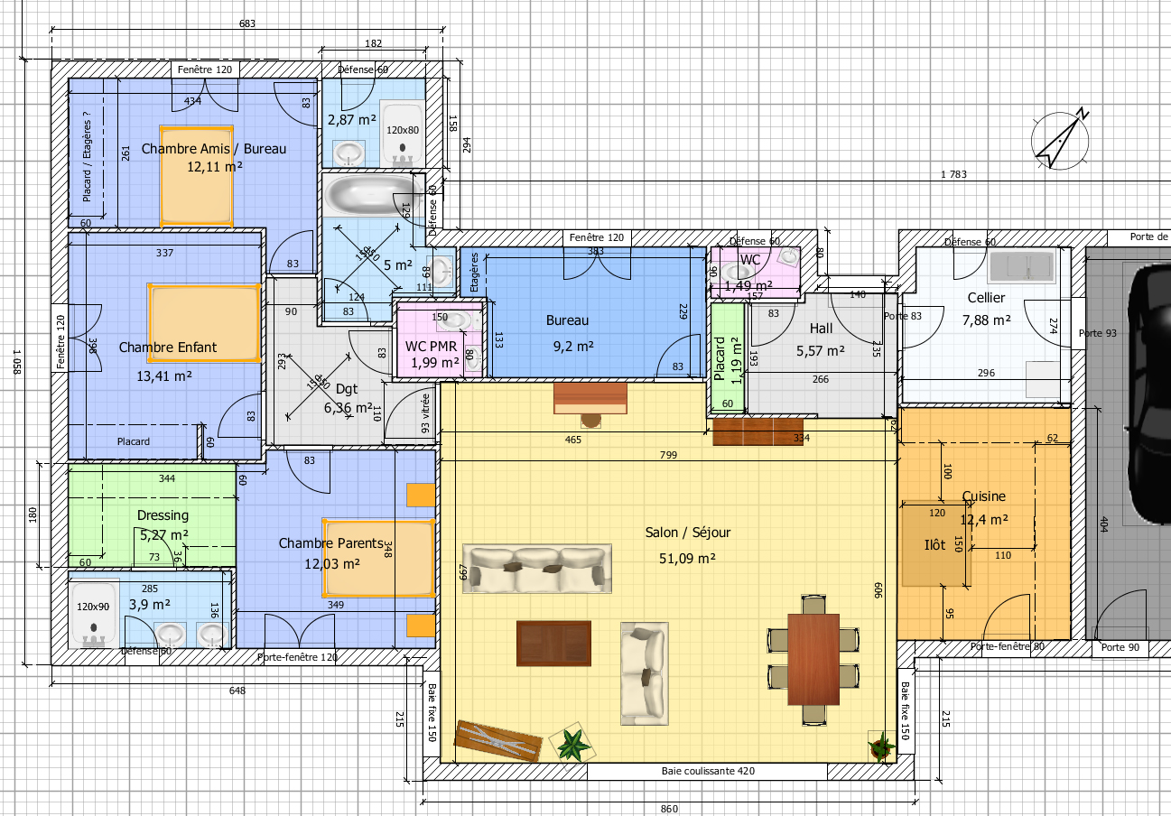 Plan grande maison plain pied for Plan grande maison