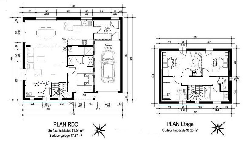 plan de maison r 1 avec garage. Black Bedroom Furniture Sets. Home Design Ideas
