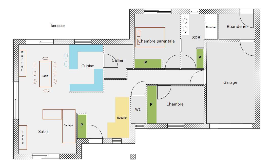 plan de maison de 80m2 plein pied simple with plan de. Black Bedroom Furniture Sets. Home Design Ideas