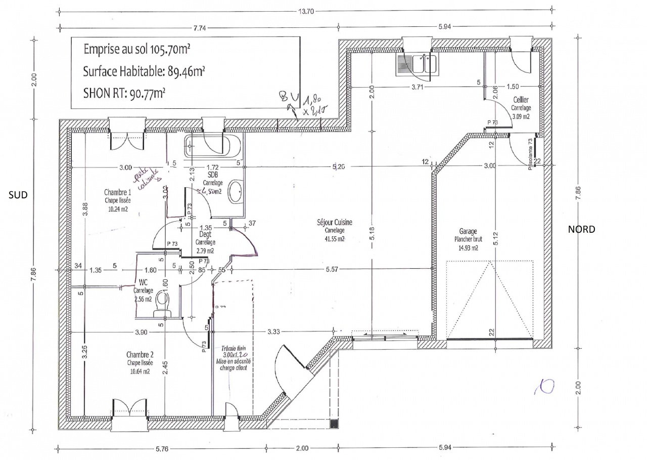 Plan de maison de 80m2 for Maison bois 80m2