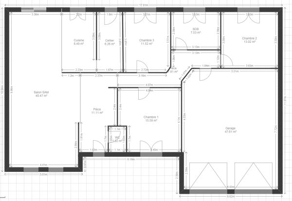Plan maison plain pied garage double for Plan de maison de plain pied avec garage