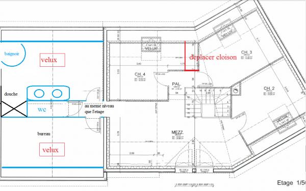 plan maison etage 160m2