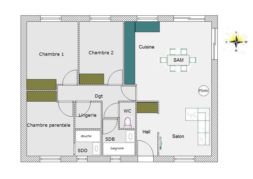 plan maison 75m2 au sol