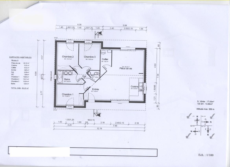 Plan maison 2 chambres esquisse 3d plan de maison de 60 m for Plan de maison avec 2 chambres