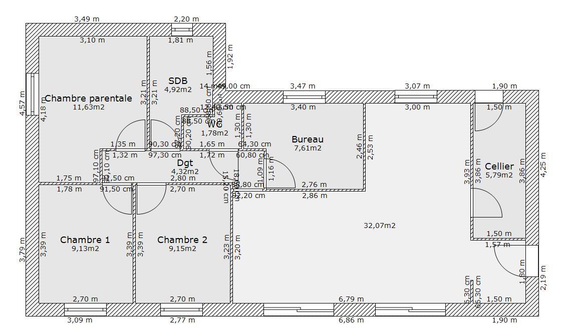 Besoin d 39 avis sur plan de maison 85m avec 4 chambres - Creation de plan de maison ...