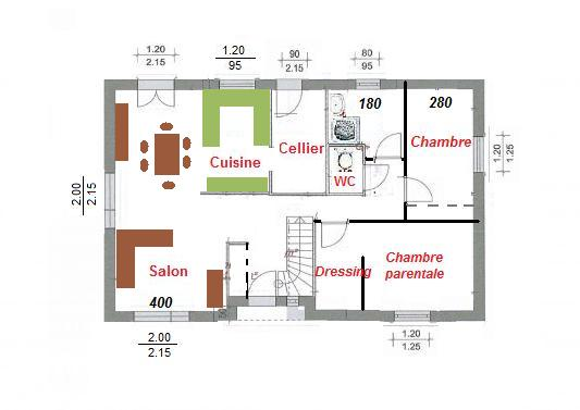 Excellent with plan maison 80m2 2 chambres for Plan maison 80m2