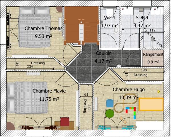 plan maison a etage 90 m2