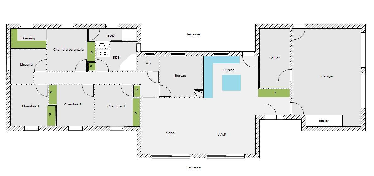 plan maison long re gq22 jornalagora. Black Bedroom Furniture Sets. Home Design Ideas