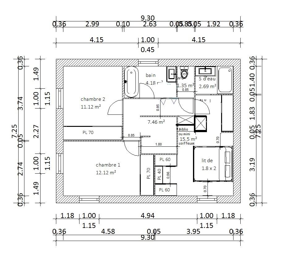 Plan Porte À Galandage besoin de vos avis sur le plan de notre petite sdb - 124