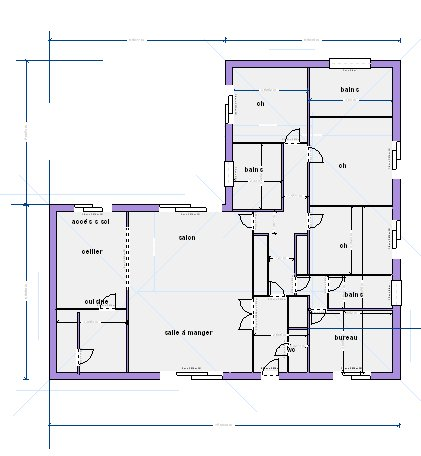 Plan maison en forme l for Plan maison contemporaine en l