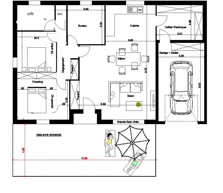 plan maison plain pied feng shui
