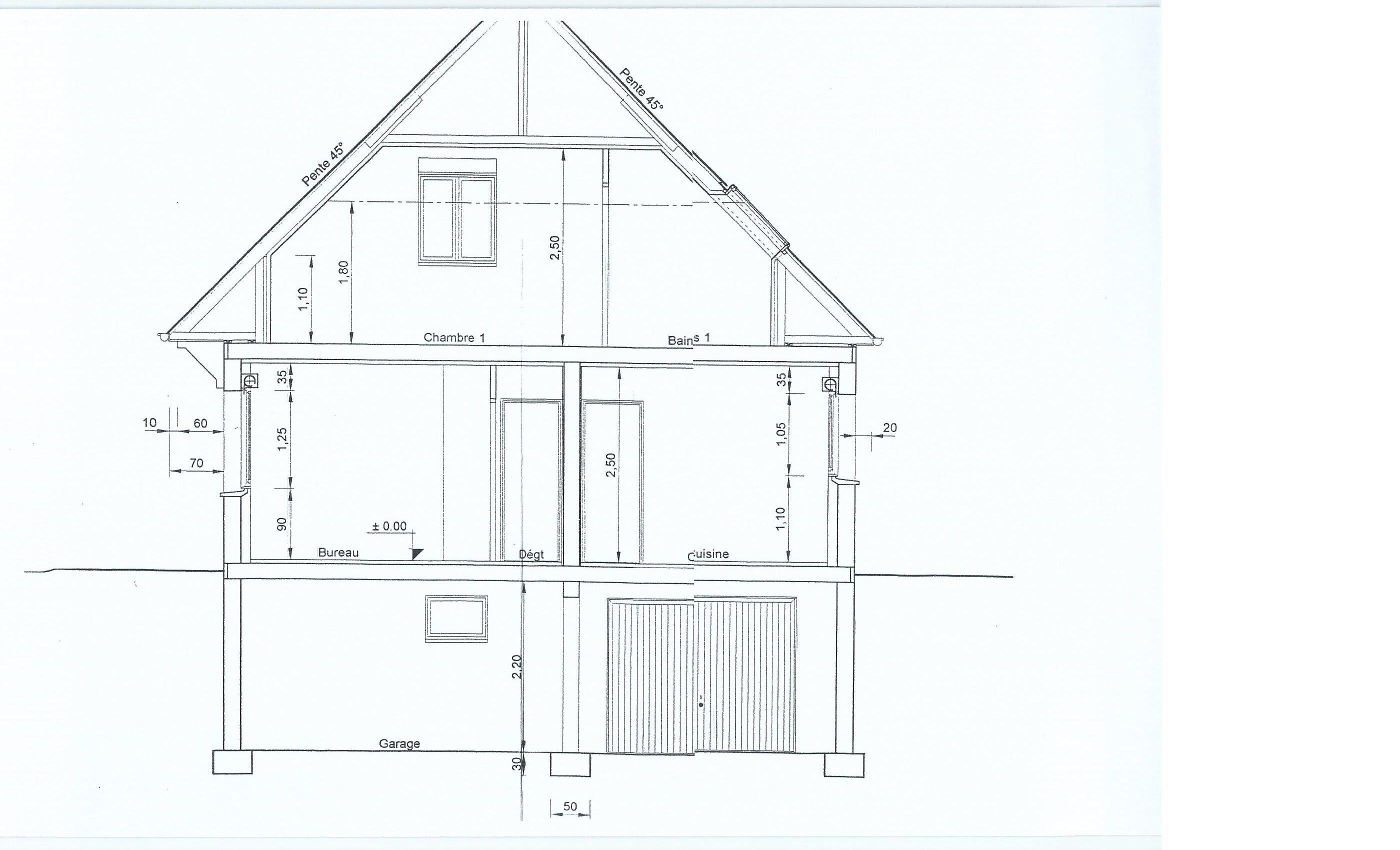 Besoin de conseils pour maison avec combles 130m2 env 19 - Dessin en coupe ...