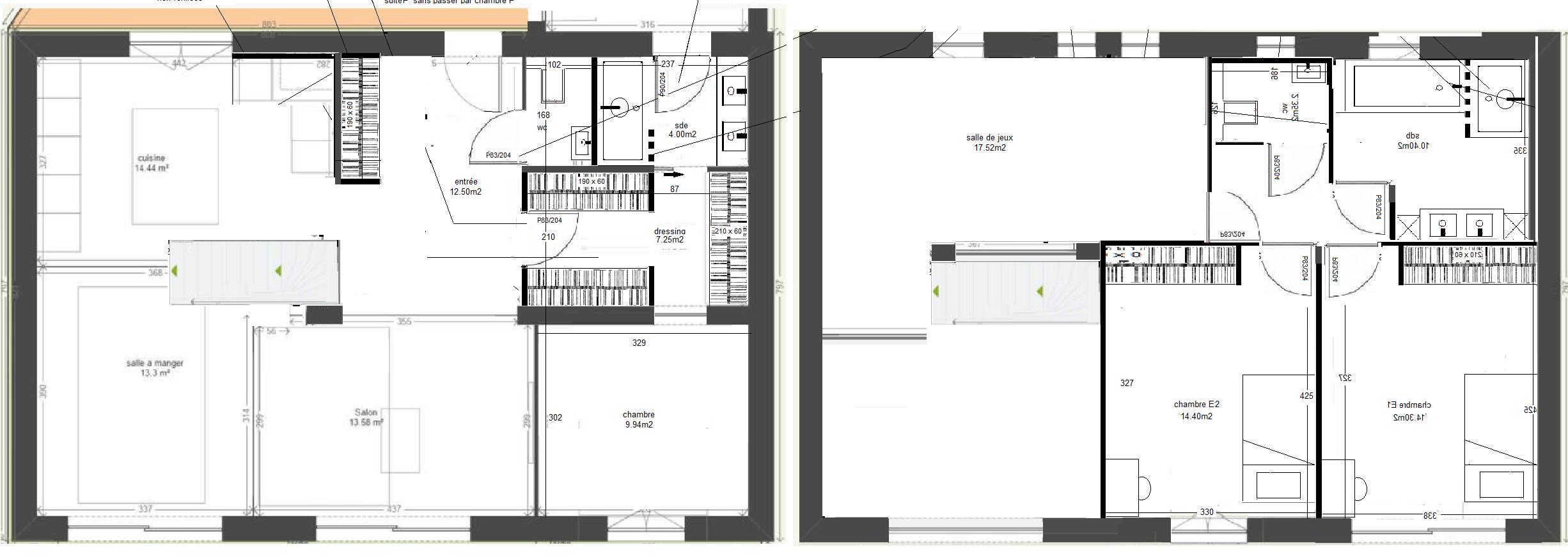 plan maison vide sur sejour. Black Bedroom Furniture Sets. Home Design Ideas