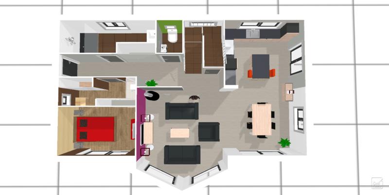 Plan cuisine ouverte 9m2 style de cuisine moderne img13 for Chambre 9m2 avec dressing