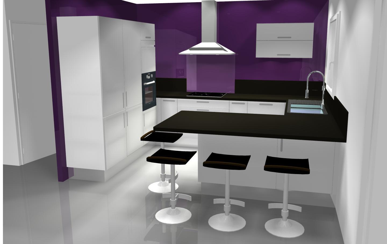 Emejing mur couleur aubergine images for Cuisine blanche mur aubergine