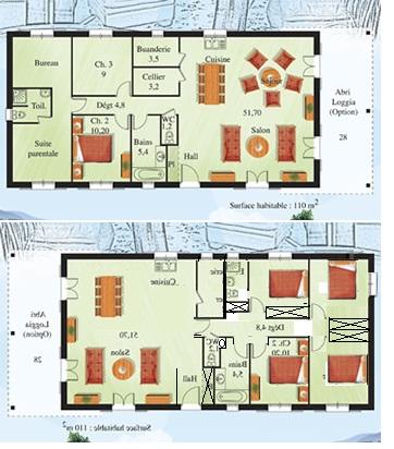 Conseils pour une maison de plain pied 100m2 118 for Plan maison plain pied 100m2 3 chambres