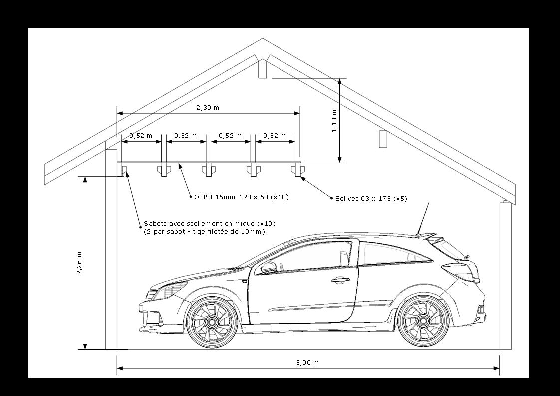 Cr ation d 39 un tage dans le garage for Garage bois ou parpaing