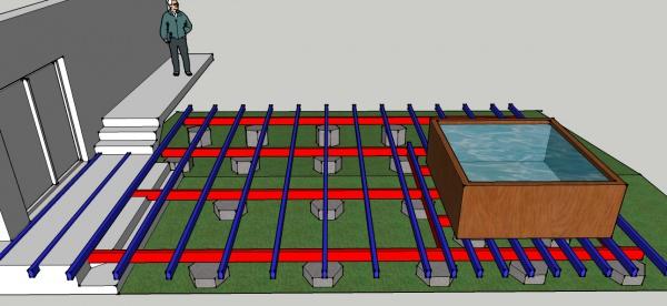 Cr ation d 39 une ossature bois pour terrasse supportant un spa for Logiciel creation terrasse