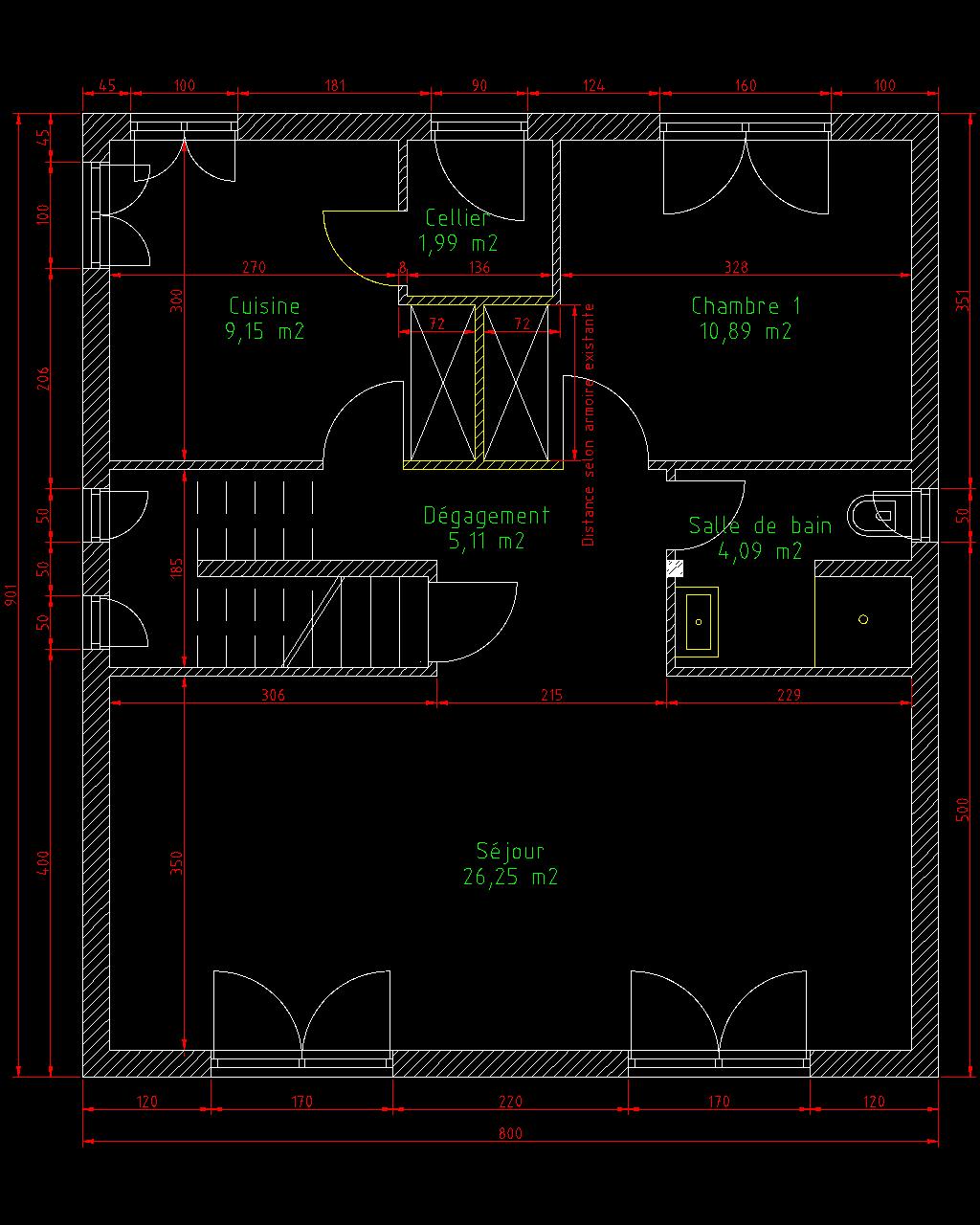 mais en ce qui me concerne cest la solution qui me semble tre la meilleure voici un plan pour mieux comprendre ce que je veux dire - Plan Architecture Maison 100m2