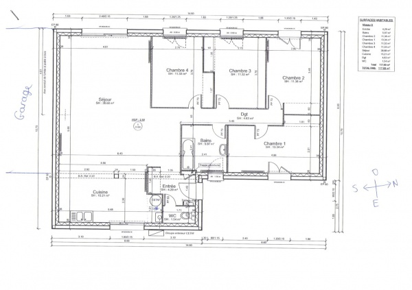 Plan maison plain pied 120m2 for Plan de maison 120m2