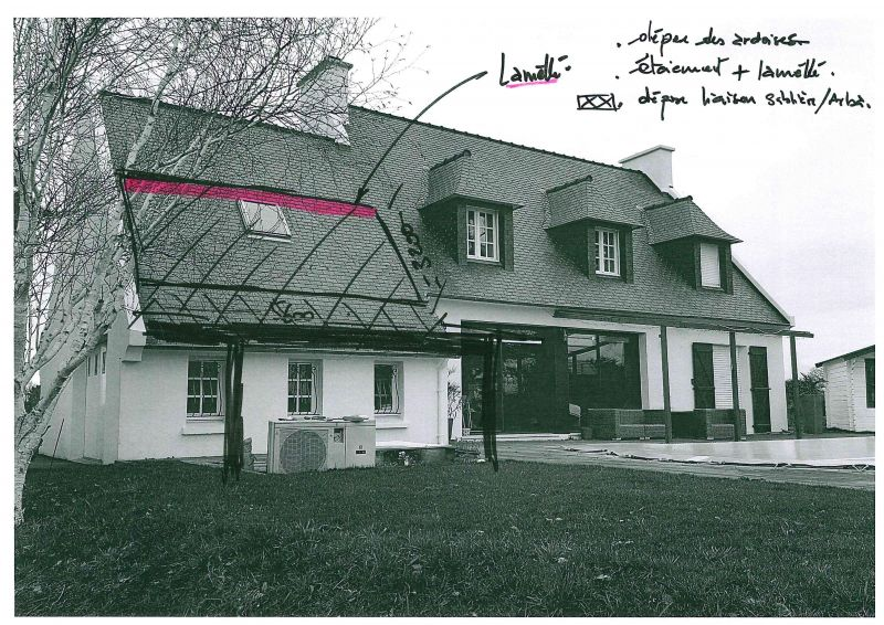 Extension dans le finist re h sitations d plafonnement et - Plan de maison bretonne ...