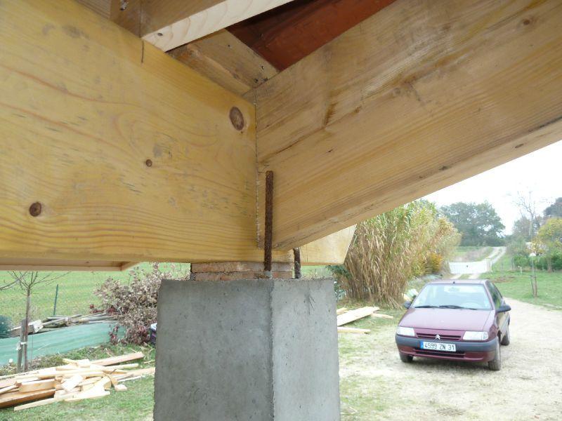 charpente bois sur pilier beton