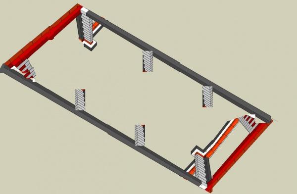 les pilliers sont positionns tout les 2 mettres afin de faire une ceinture de parpaing de chainage pour que tout soit solidaire - Fondation Pour Un Garage En Parpaings