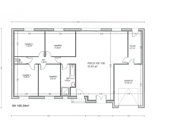 plan maison rectangle 4 chambres