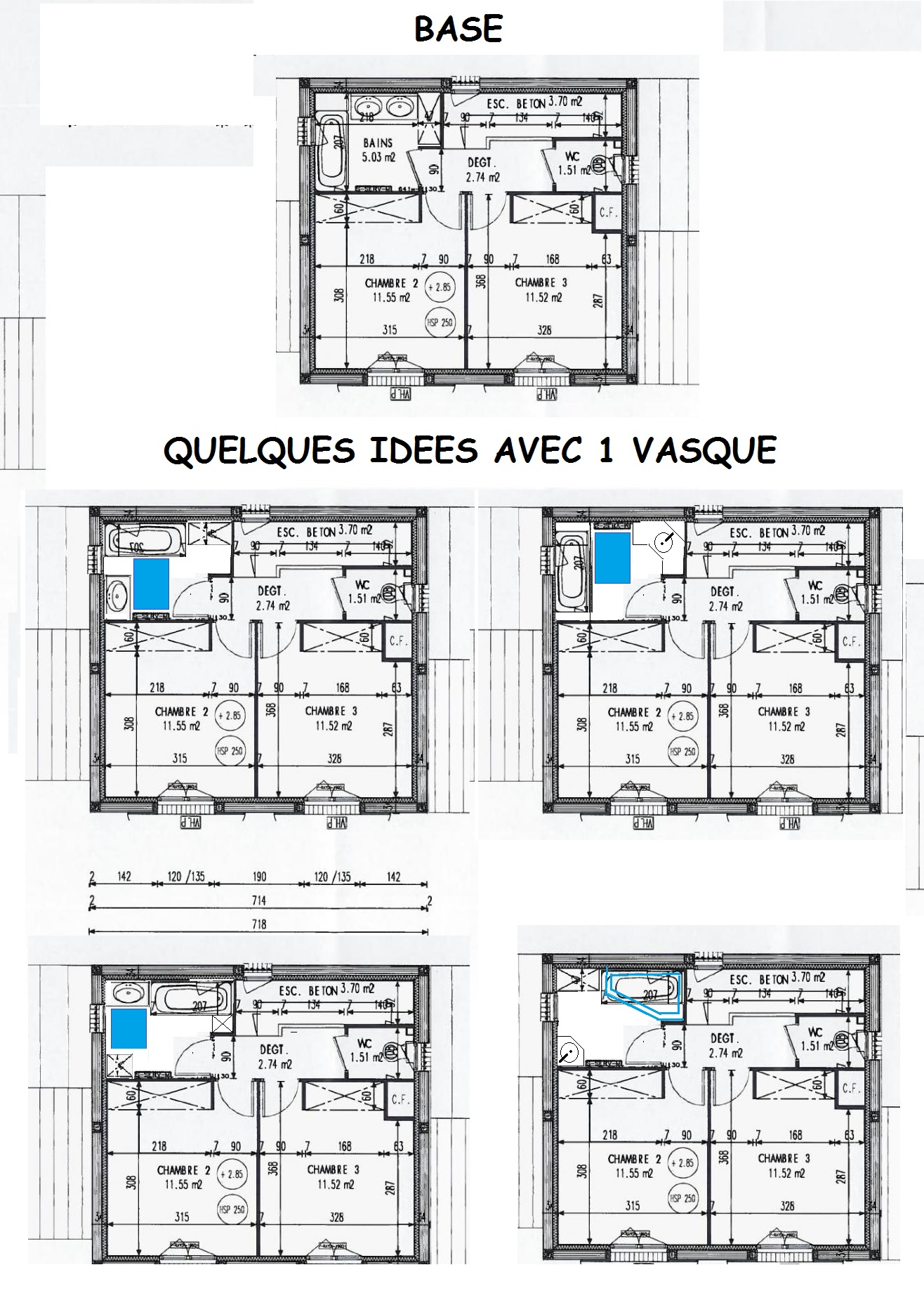 Implantation sdb 28 messages for Salle de bain 6 5 m2
