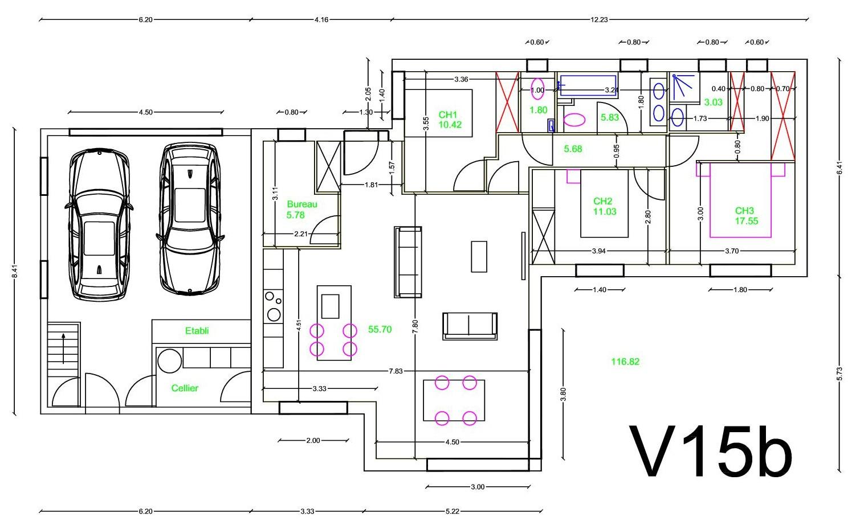 Ite liaison garage habitation plain pied for Plan maison plain pied avec garage double