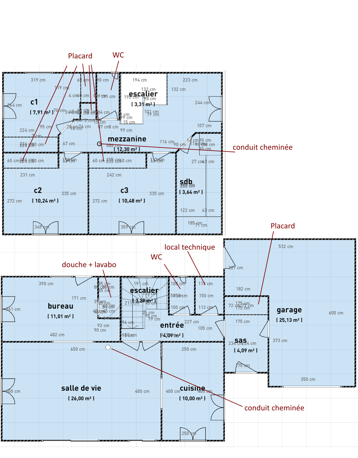 Maison r 1 110m sur terrain plat entr e par le sud 42 - Plan maison entree sud ...