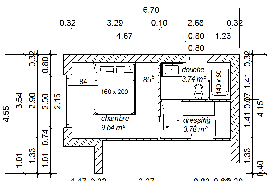 Plan suite parentale 18m2 for Plan maison avec suite parentale