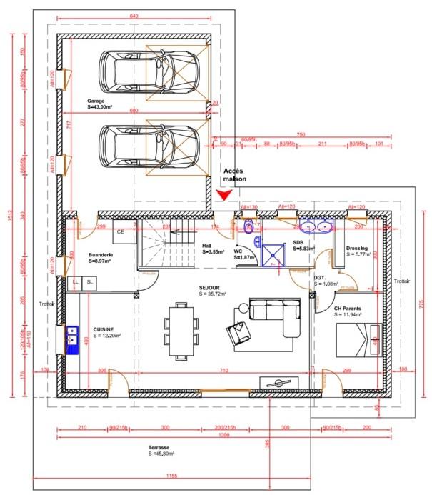 Maison r 1 de 130m 29 messages - Plan cellier buanderie ...