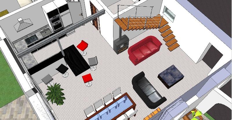 maison etage 160m plafond cathedrale sur terrain. Black Bedroom Furniture Sets. Home Design Ideas