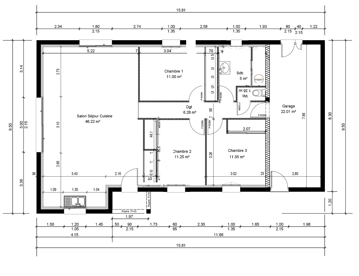 Plan maison 4 chambres 130m2 for Plan maison 3 faces